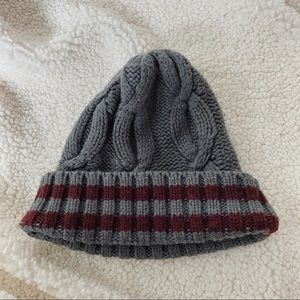 Cotton On Beanie | Gray & Maroon